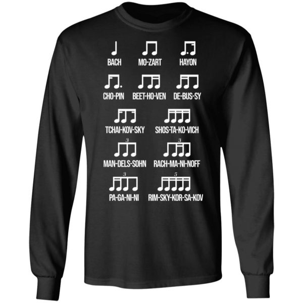 Composer Rhythm Music Gift Bach Mozart Beethoven Chopin Camiseta T-Shirts