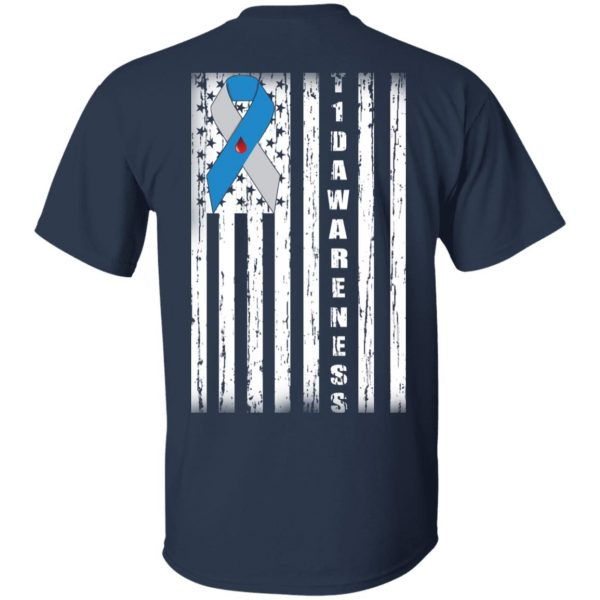 Type 1 Diabetes Awareness Support T1D Flag Ribbon T-Shirts