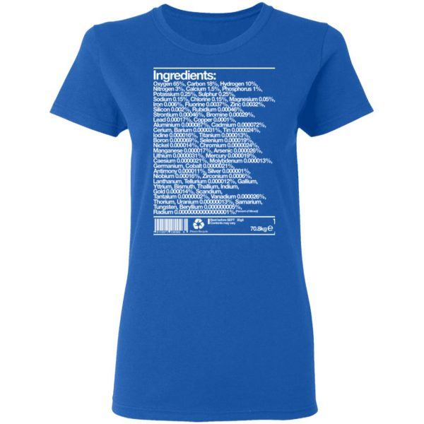 Human Ingredients Oxygen 65% Carbon 18% Hydrogen 10% T-Shirts, Hoodies, Sweatshirt Apparel 10