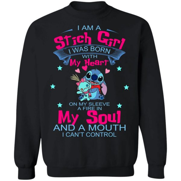 I Am A Stich Girl Was Born In With My Heart On My Sleeve T-Shirts, Hoodies, Sweater Apparel 13